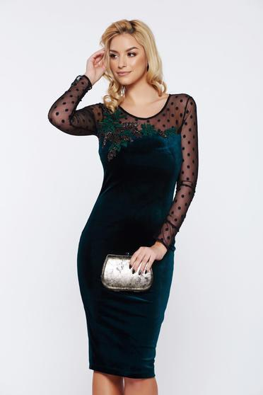 LaDonna occasional pencil embroidered green velvet dress