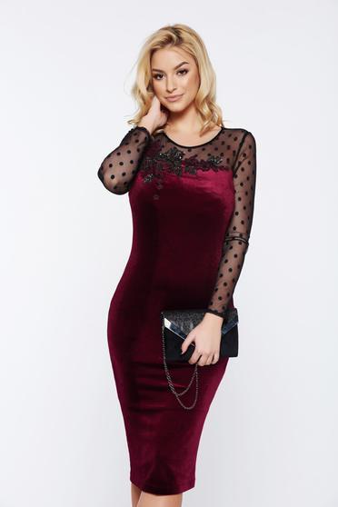 LaDonna occasional pencil embroidered burgundy velvet dress