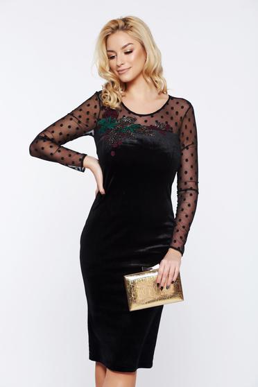 LaDonna occasional pencil embroidered black velvet dress