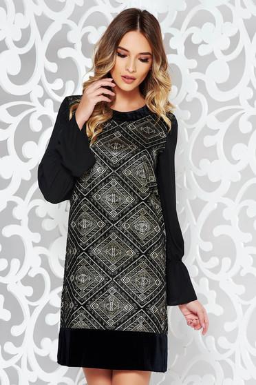 Black LaDonna flared dress with geometrical print