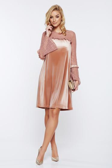 LaDonna cream occasional flared velvet dress with veil sleeves