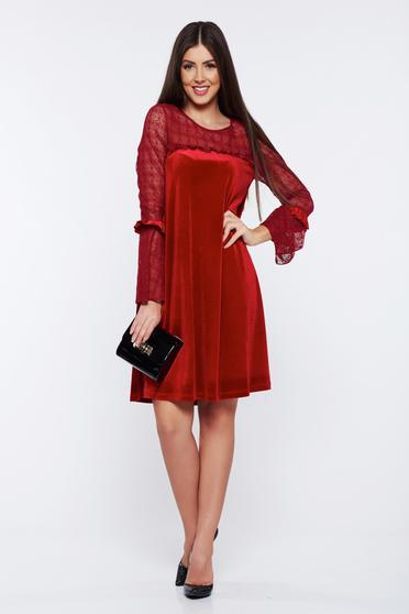 LaDonna red occasional flared velvet dress with veil sleeves