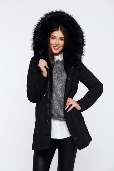 Black casual jacket with pockets with faux fur lining