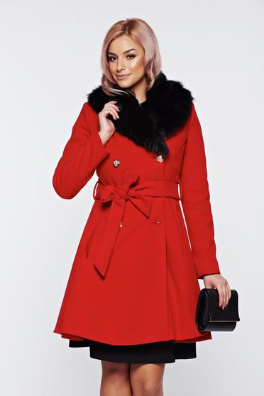 LaDonna elegant red coat from wool with detachable faux fur insertions