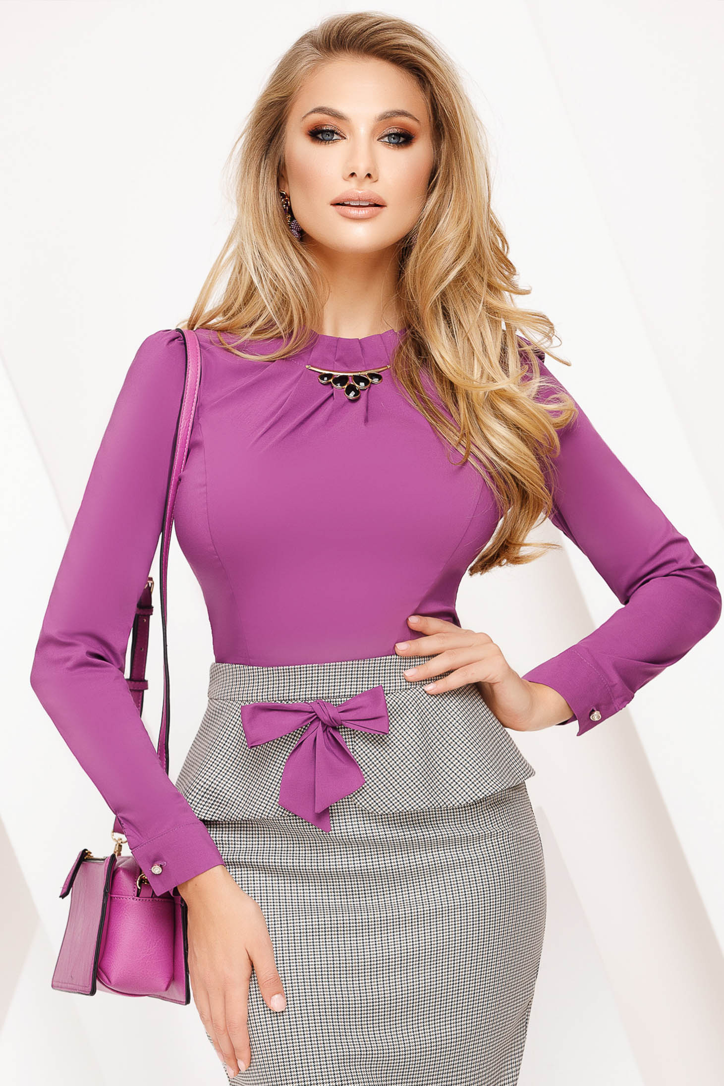 Fofy purple office cotton tented women`s shirt with embellished accessories