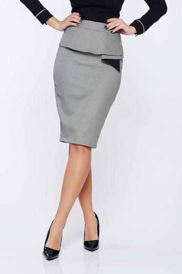 Fofy office midi pencil black skirt with print details with frilled waist