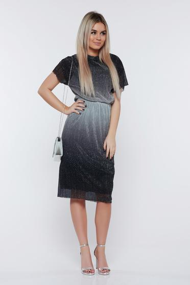 StarShinerS silver dress occasional with metallic aspect with elastic waist