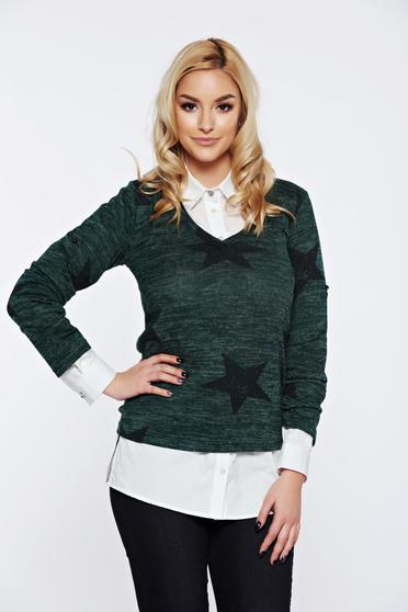 PrettyGirl turquoise casual flared sweater with v-neckline