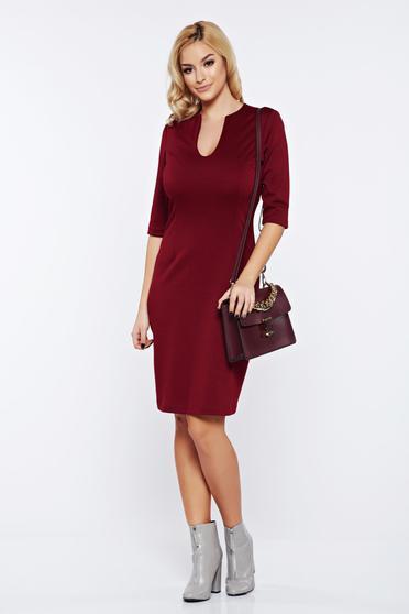 PrettyGirl burgundy office dress with v-neckline from elastic fabric