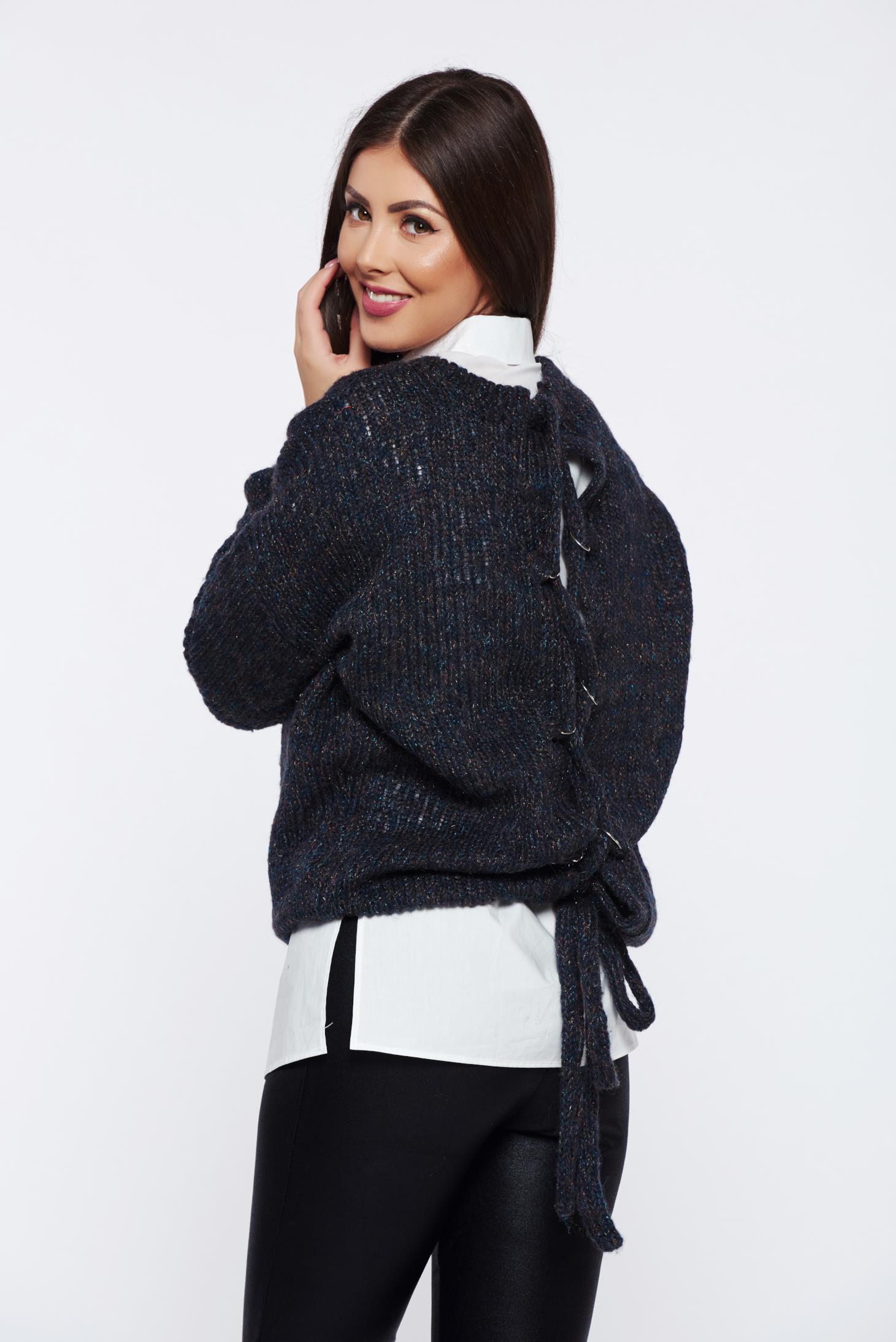 Pulover PrettyGirl gri-inchis casual cu croi larg tricotat