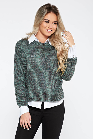 PrettyGirl green casual flared knitted sweater