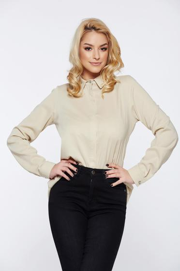 PrettyGirl with easy cut cream casual women`s shirt asymmetrical