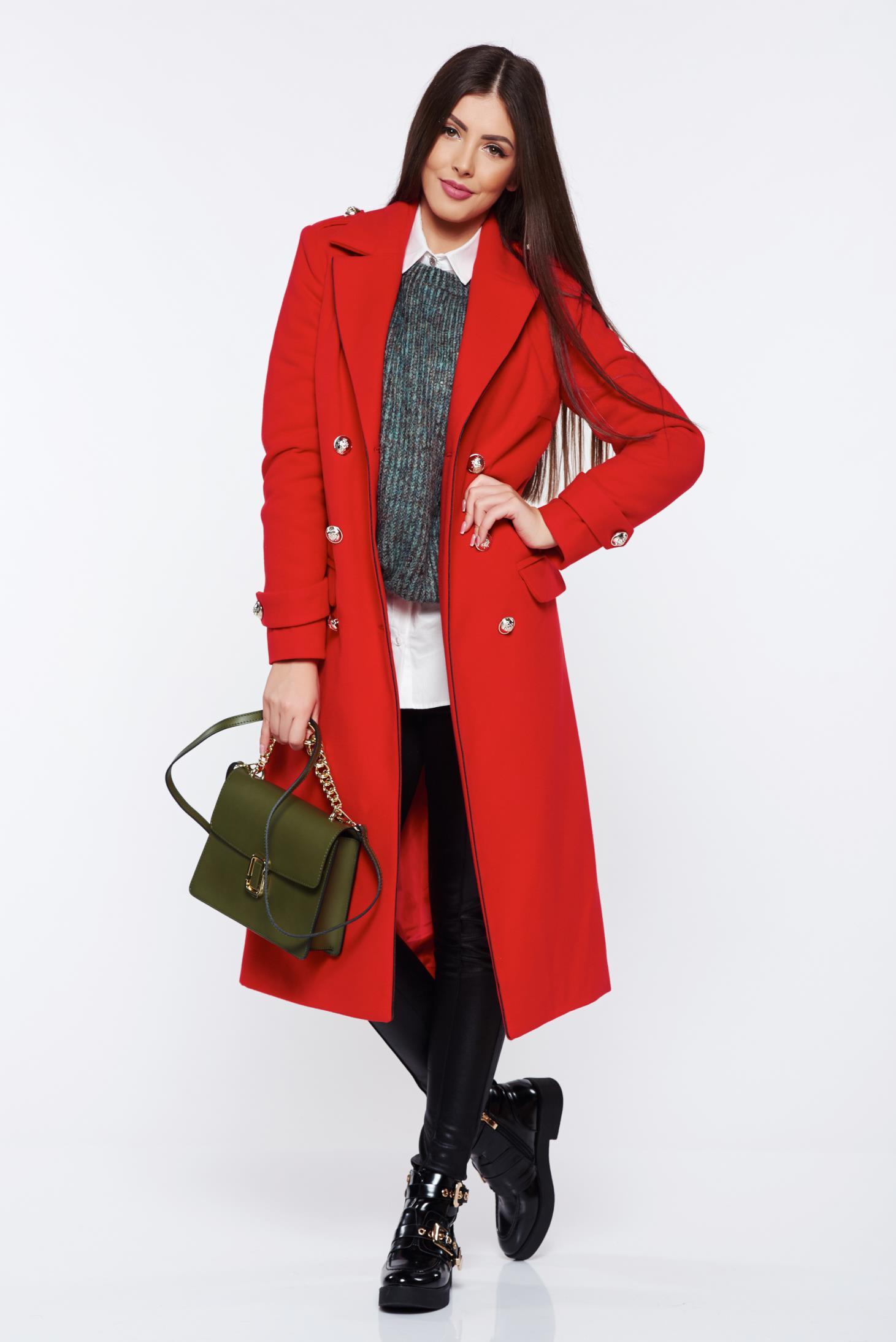Palton Military LaDonna rosu casual din lana drept cu rand dublu de nasturi