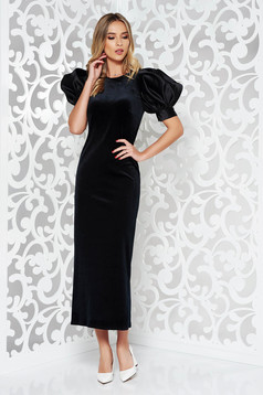 Ana Radu black occasional velvet dress with puffed sleeves accessorized with tied waistband