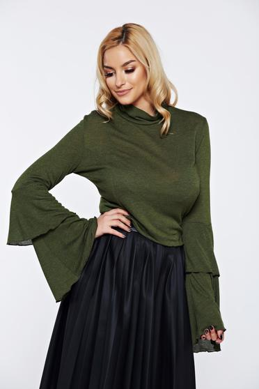 Ocassion darkgreen casual elegant women`s blouse with bell sleeve