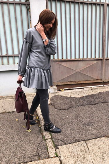 Ana Radu grey daily cloth flared long sleeved dress