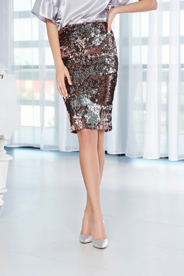 StarShinerS silver skirt with sequins pencil with elastic waist