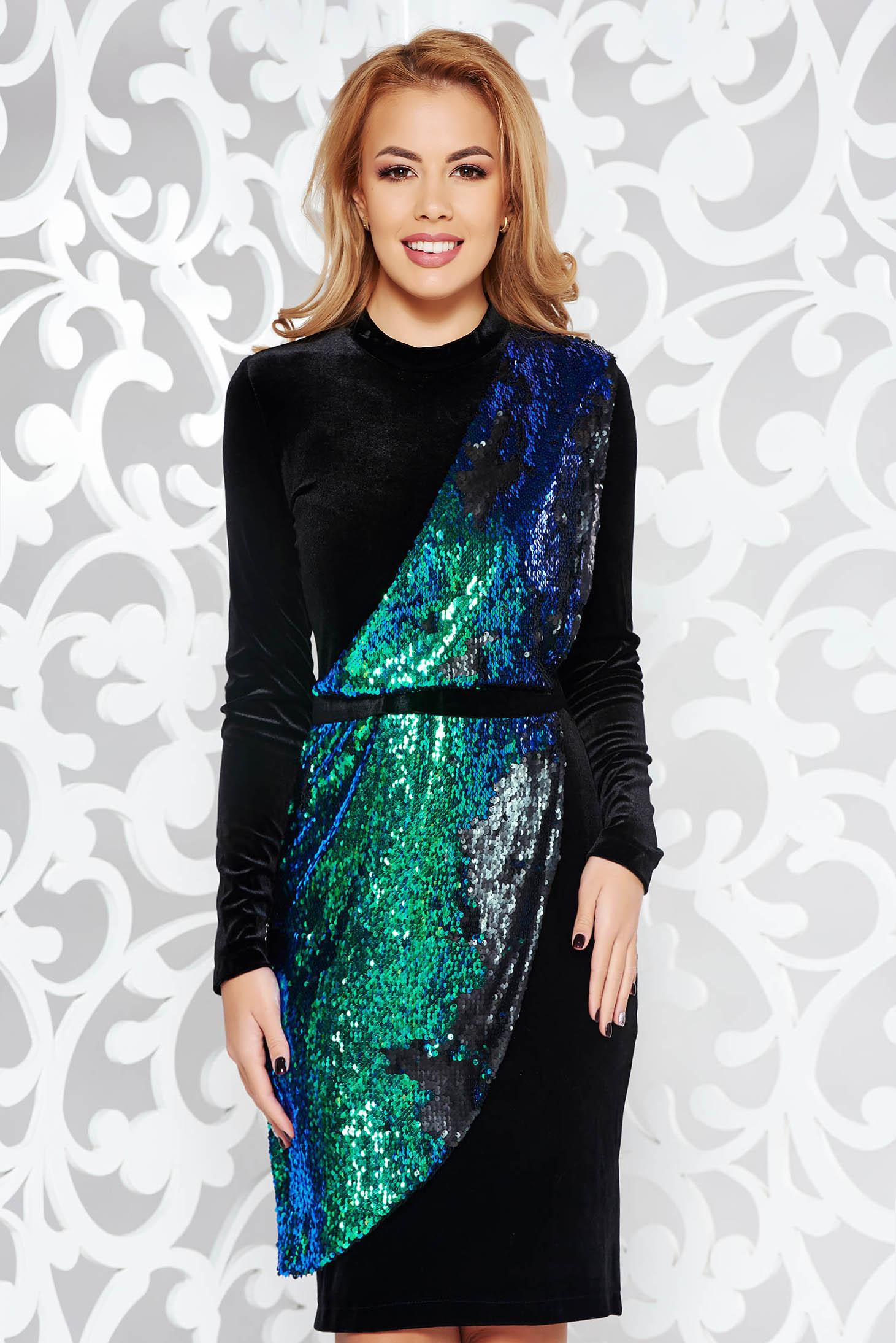 Zöld StarShinerS ruha flitteres díszítés bársony alkalmi afcabb89ab