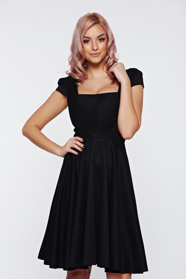 Fofy black dress elegant cloche short sleeve