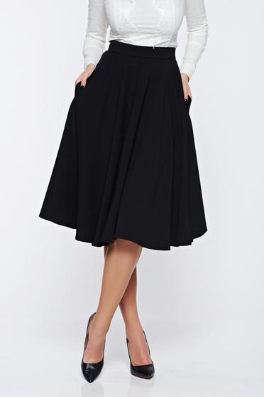 Fofy black skirt cloche high waisted office