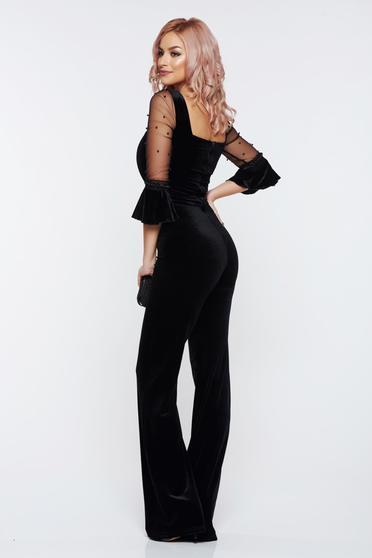 Fofy black jumpsuit occasional velvet 3/4 sleeve