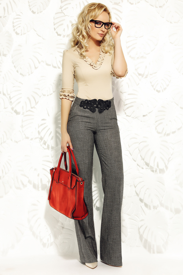Fofy gold trousers high waisted flared cloth