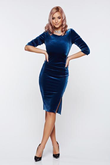 StarShinerS blue dress elegant pencil velvet