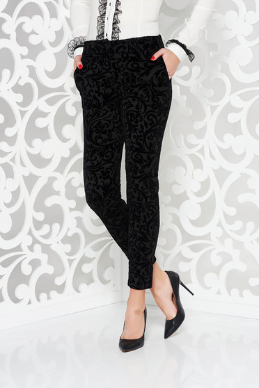 PrettyGirl black trousers elegant conical with pockets