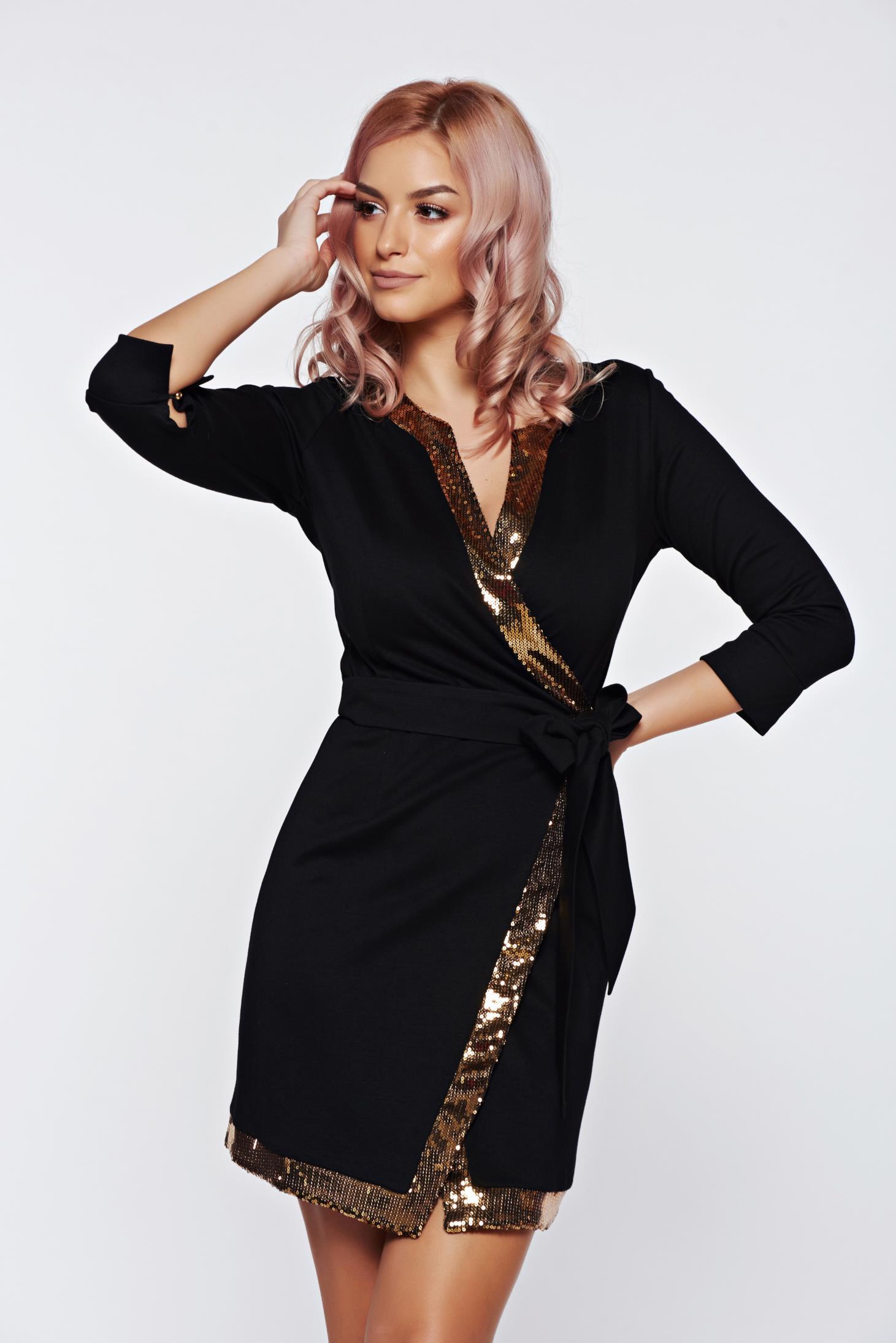 Arany PrettyGirl elegáns átfedéses ruha flitteres díszítés 61c795c7e6