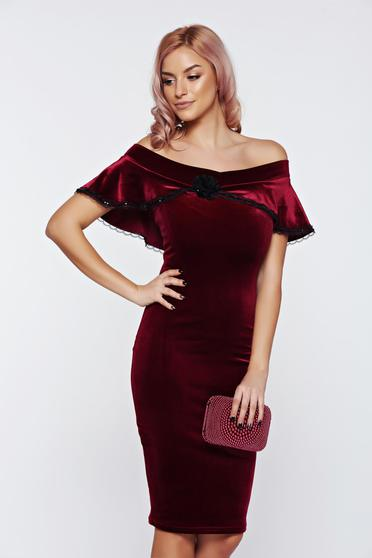 Fofy burgundy dress occasional off shoulder velvet