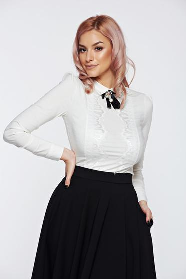 Fofy white women`s shirt office cotton with lace details