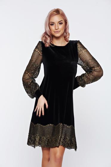 LaDonna black dress elegant flared long sleeve