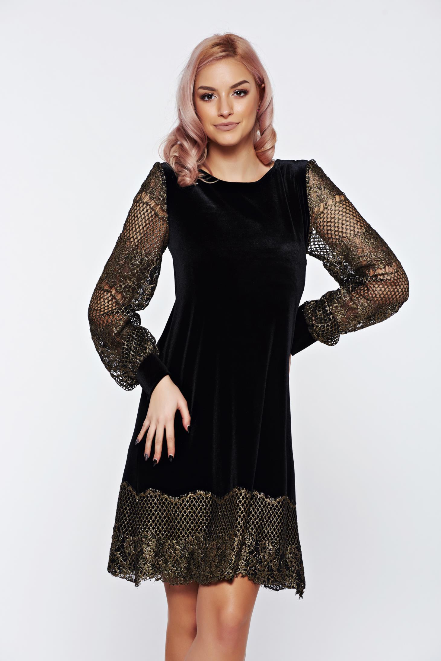 Fekete LaDonna elegáns bő szabású hosszú ujjú ruha 47b03319fd