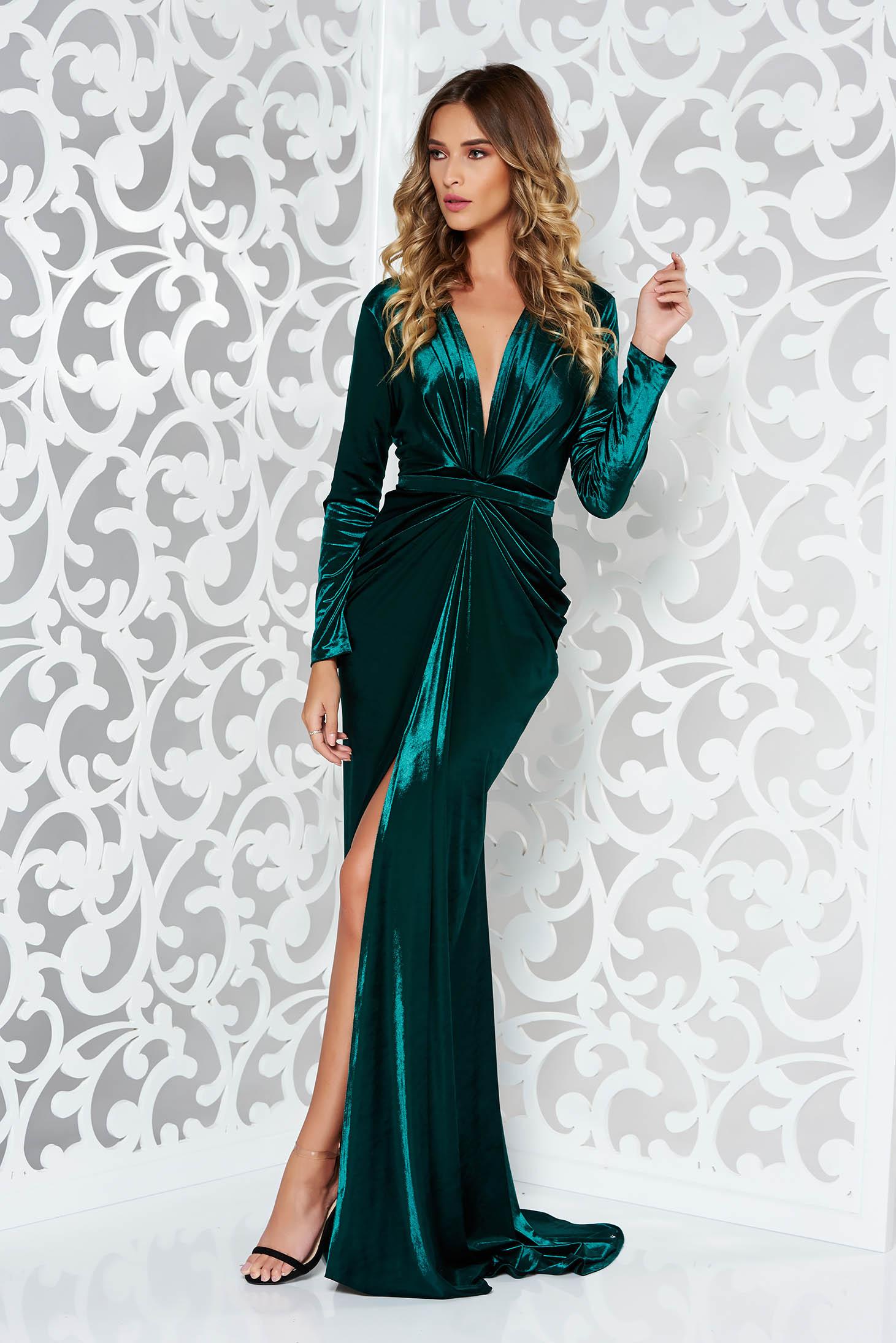 3a8a8ae90b Zöld Ana Radu estélyi ruhák szirén tipusú bársony ruha