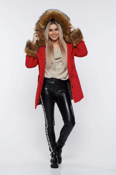 Red jacket casual with furry hood with pockets