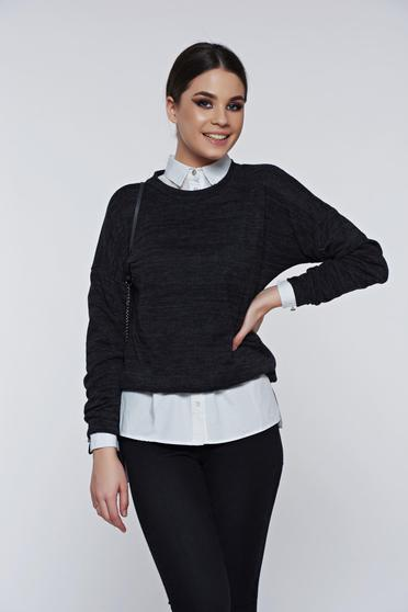 PrettyGirl darkgrey sweater casual flared
