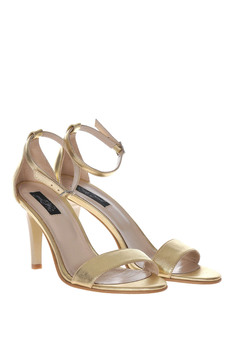 Gold sandals elegant natural leather with high heels
