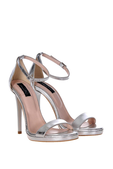 Silver sandals natural leather elegant with high heels