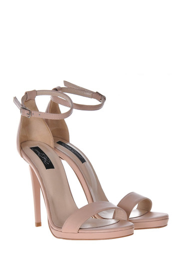 Nude sandals natural leather elegant with high heels