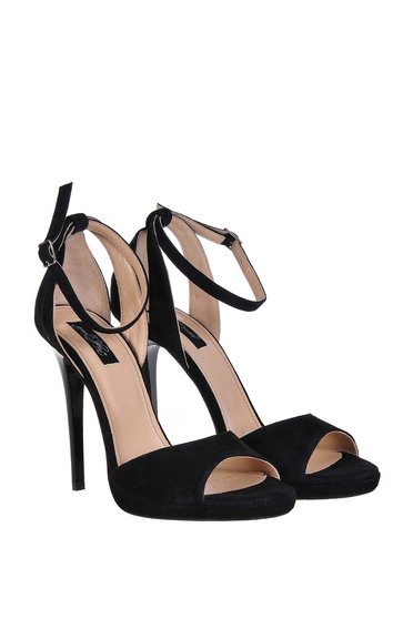 Black sandals with high heels natural leather