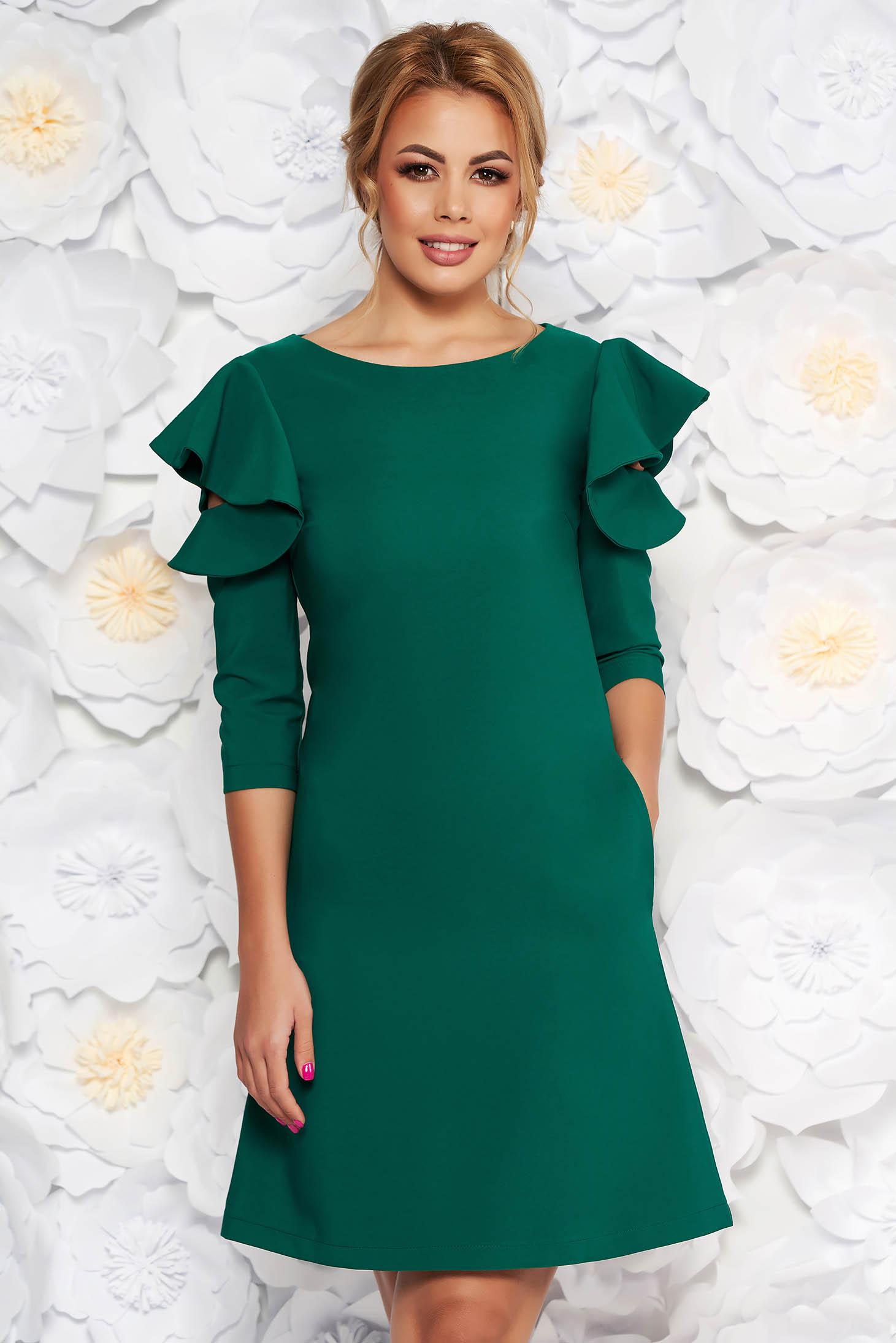 Rochie LaDonna verde-deschis de zi cu croi in A din stofa usor elastica cu volanase la maneca