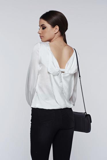 PrettyGirl white women`s blouse elegant with cut back allure of satin