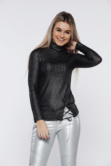 PrettyGirl black women`s blouse casual knitted turtleneck