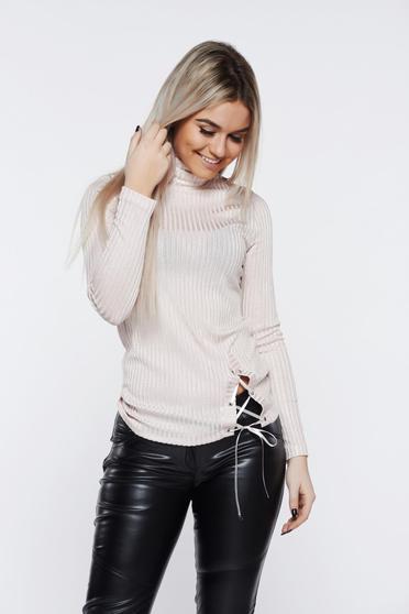 PrettyGirl rosa women`s blouse casual knitted turtleneck