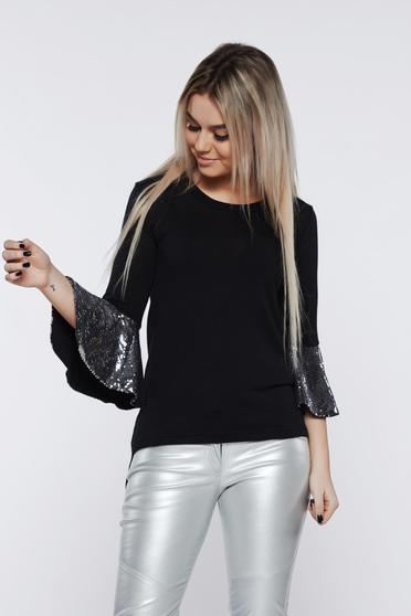 PrettyGirl silver women`s blouse with bell sleeve with sequins with tented cut
