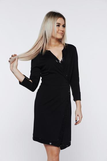 PrettyGirl black dress elegant wrap around with sequin embellished details