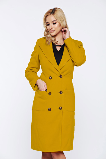 LaDonna yellow casual coat from wool with pockets with inside lining