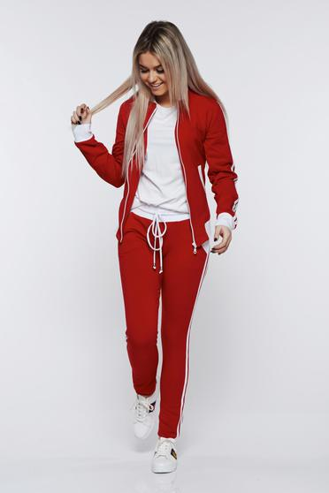 Ocassion red set sporty cotton with pockets