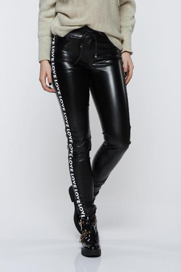 Ocassion black trousers casual with medium waist from ecological leather