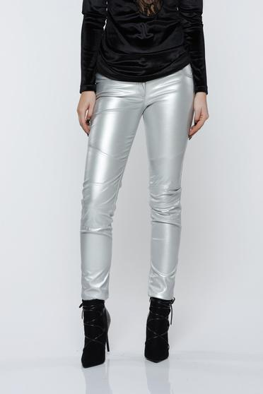 Ocassion silver trousers casual with metallic aspect with medium waist